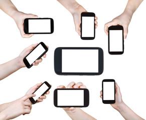set of children hands with smart phones isolated