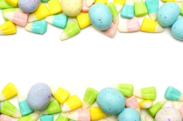 Easter candy double edge border over white
