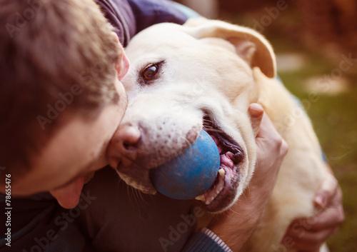 Leinwandbild Motiv Man and dog
