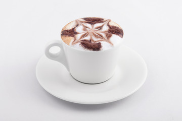 cappuccino cup on white background