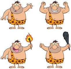 Funny Caveman Cartoon Character 1. Collection Set