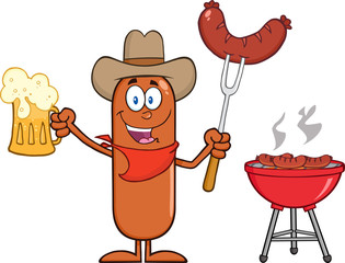 Cowboy Sausage Character Holding A Beer And Weenie Next To BBQ
