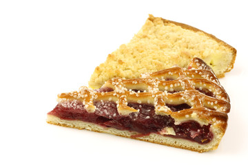 """two slices of decorated pie called """"vlaai"""" in Holland"""