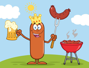 King Sausage Character Holding A Beer And Weenie Next To BBQ