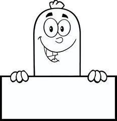 Black And White Smiling Sausage Character Over A Blank Sign