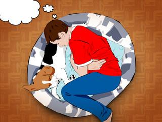 Bambino con beagle