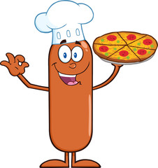 Chef Sausage Cartoon Character Holding A Pizza