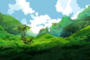 tropical green mountains