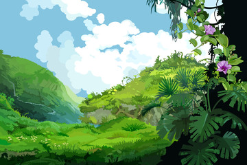 Mountain landscape with tropical plants