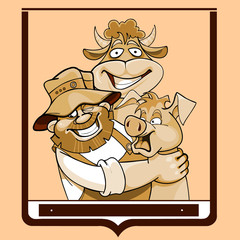 cartoon farmer with a cow and a pig in a frame