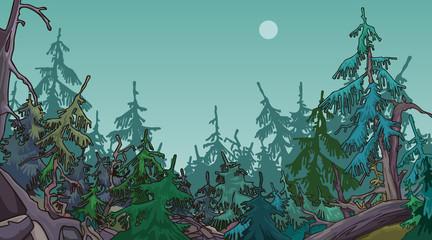 cartoon dense coniferous forest