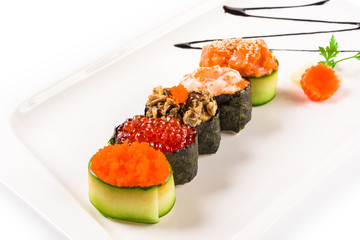 Sushi on a white plate