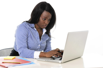 attractive efficient black ethnicity woman  at office computer