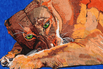 Löwin gemalt mit Copic Markern
