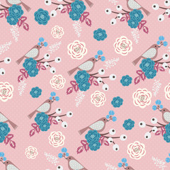 Retro floral vector seamless pattern
