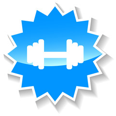 Barbell blue icon