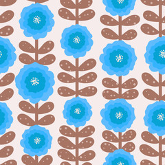 Floral vector seamless pattern with poppy