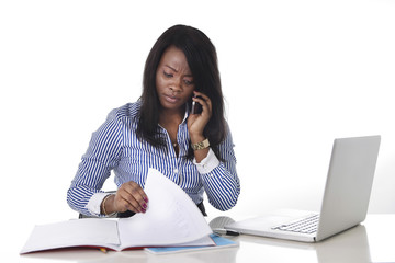 black American frustrated woman working in stress at office