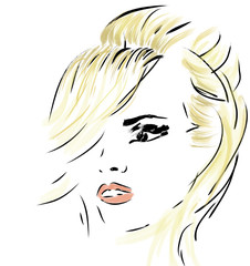 Illustration of a beautiful woman face in retro style