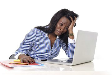 black African American ethnicity frustrated woman stress at work