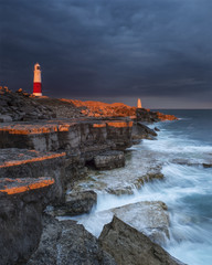 Portland Bill set against a dramatic sky