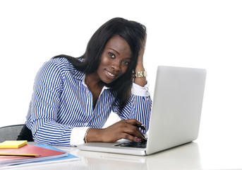 black african american ethnicity woman working at computer