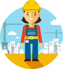 Woman builder on construction background in flat style