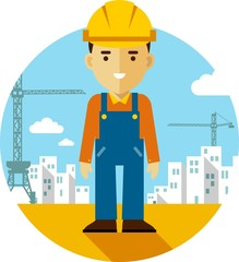 Builder on construction background in flat style