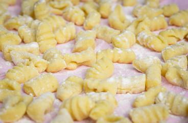 Homemade potato gnocchi uncooked