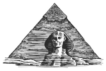 Egyptian pyramid and the Sphinx on a white background. sketch
