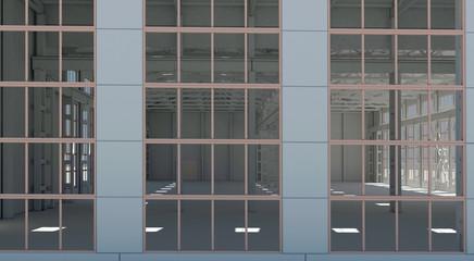 Stabile, fabbrica, edificio industriale, vuoto, 3d