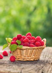 Healthy and fresh raspberries in the basket
