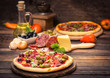 Homemade pizza with ham, cheese and vegetables - 78659626