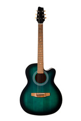 black and green acoustic guitar, isolated on a white