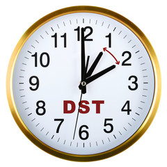 Wall clock isolated on white. Daylight saving time