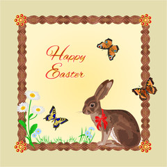 Hare with butterflies and daisy easter vector
