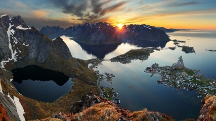 Mountain coast landscape at sunset, Norway motion