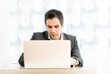 Handsome Businessman Using Laptop on the Table