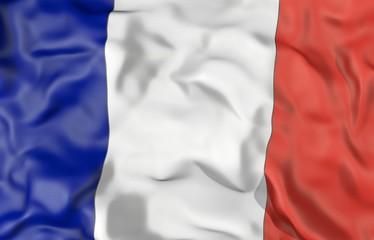 France corrugated flag 3D illustration