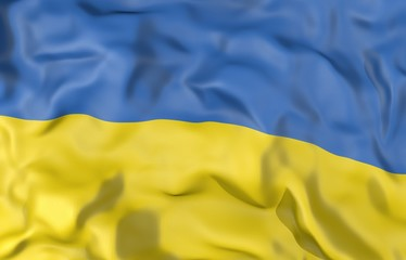 Ukraine corrugated flag 3D illustration