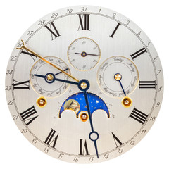 Antique silver clock face with moon rotation