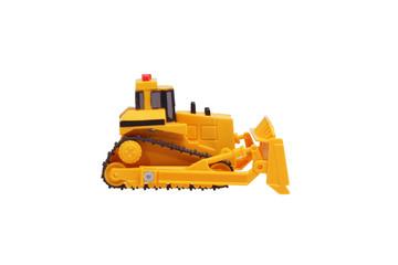 Toy bulldozer. Side view.