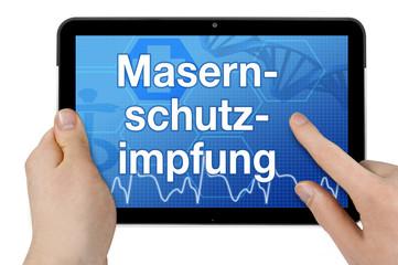 Tablet mit Interface und Masernschutzimpfung