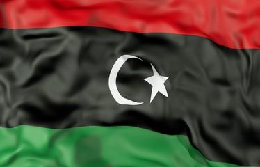 Lybia corrugated flag 3D illustration