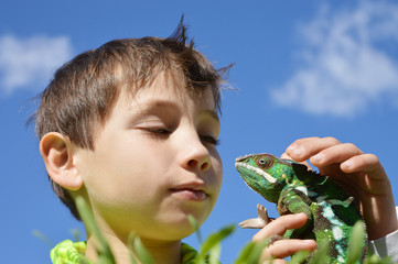 Boy with chameleon