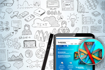 Modern Mockup Device with infographics sketch set