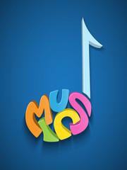 MUSIC icon (quaver score sheet symbol letters)