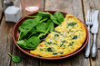 Frittata with chicken and spinach and fresh spinach - 78662257