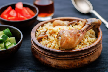 pilaf with dates, figs and chicken