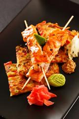 Japanese Skewered salmon with Vegetables